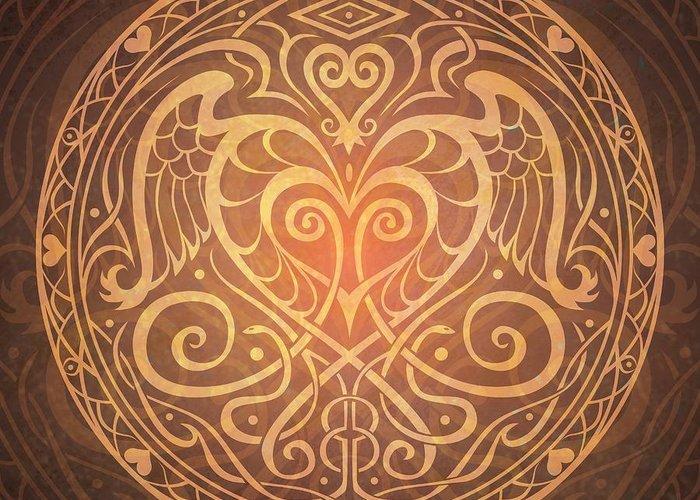 Mandala Greeting Card featuring the digital art Heart Of Wisdom Mandala by Cristina McAllister