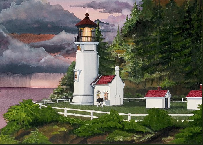 Heceta Head Lighthouse Greeting Card featuring the painting Heceta Head Lighthouse by James Lyman