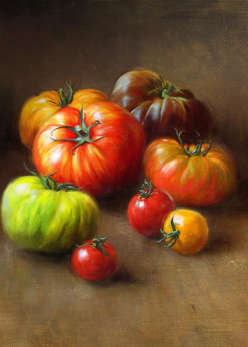 Tomato Greeting Card featuring the painting Heirloom Tomatoes by Robert Papp