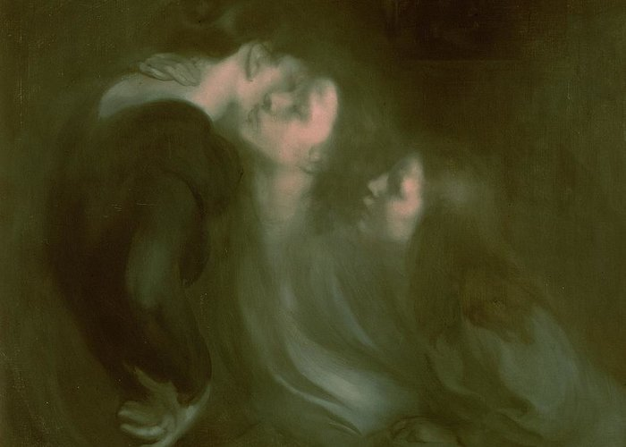 Her Greeting Card featuring the painting Her Mother's Kiss by Eugene Carriere