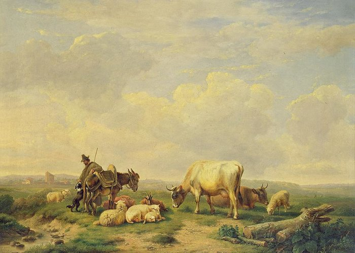Herdsman And Herd Greeting Card featuring the painting Herdsman And Herd by Eugene Joseph Verboeckhoven