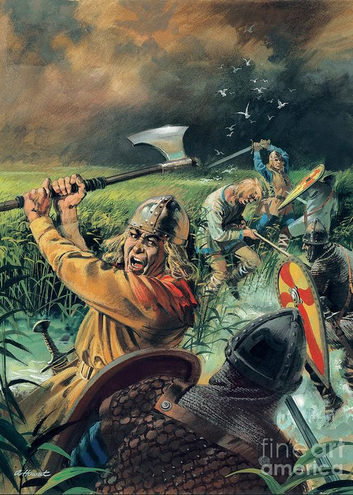 Hereward Greeting Card featuring the painting Hereward The Wake by Andrew Howat