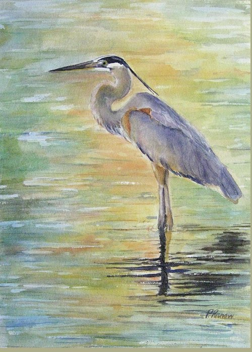Great Blue Heron Greeting Card featuring the painting Heron At The Lagoon by Patricia Pushaw