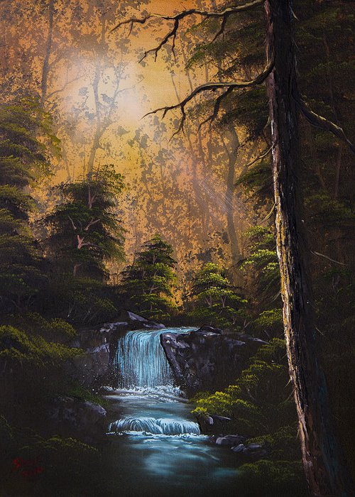 Landscape Greeting Card featuring the painting Hidden Brook by C Steele