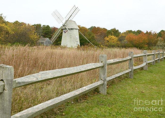Higgins Farm Windmill Greeting Card featuring the photograph Higgins Farm Windmill Brewster Cape Cod by Matt Suess
