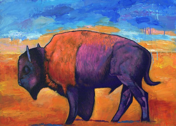 Animals Greeting Card featuring the painting High Plains Drifter by Johnathan Harris