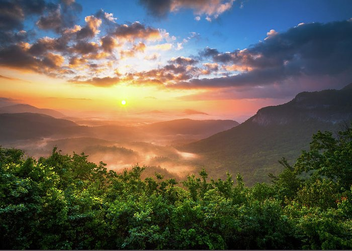 Sunset Greeting Card featuring the photograph Highlands Sunrise - Whitesides Mountain In Highlands Nc by Dave Allen