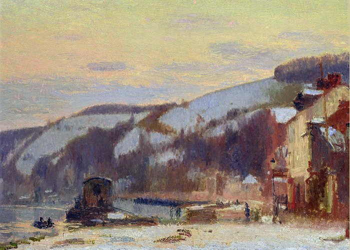 Hillside Greeting Card featuring the painting Hillside At Croisset Under Snow by Joseph Delattre