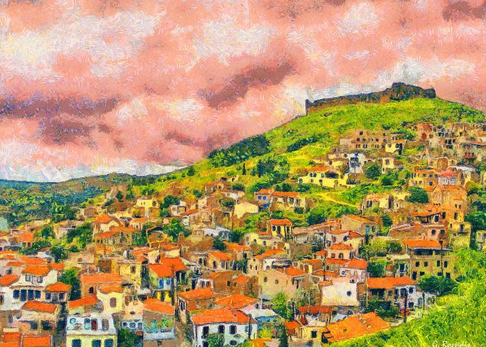 Rossidis Greeting Card featuring the painting Hios Volissos by George Rossidis