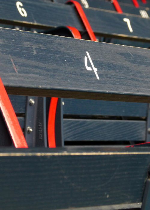 Red Sox Greeting Card featuring the photograph Historical Wood Seating At Boston Fenway Park by Juergen Roth