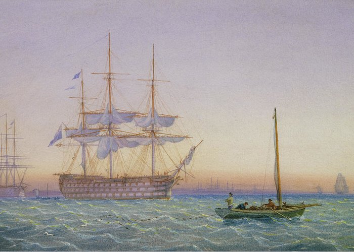 Frigates Greeting Card featuring the painting Hm Frigates At Anchor by John Joy