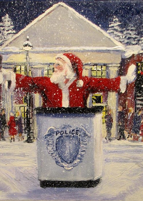 Santa Greeting Card featuring the painting Ho Ho Go... by Jack Skinner
