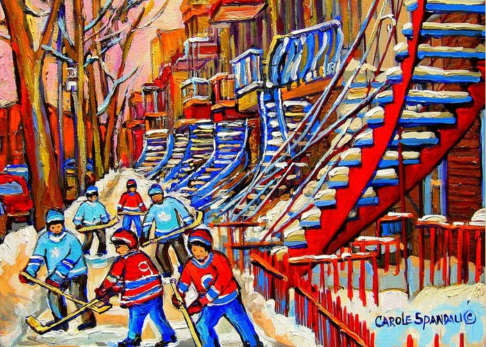 Montreal City Greeting Card featuring the painting Hockey Game Near The Red Staircase by Carole Spandau