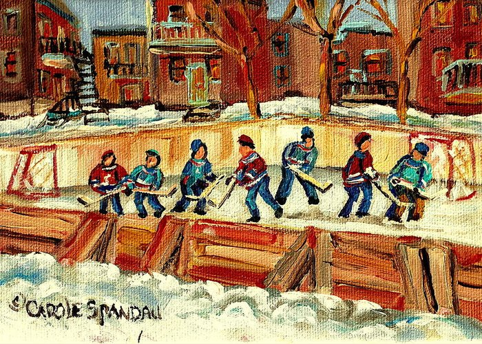 Hockey Rinks In Montreal Greeting Card featuring the painting Hockey Rinks In Montreal by Carole Spandau