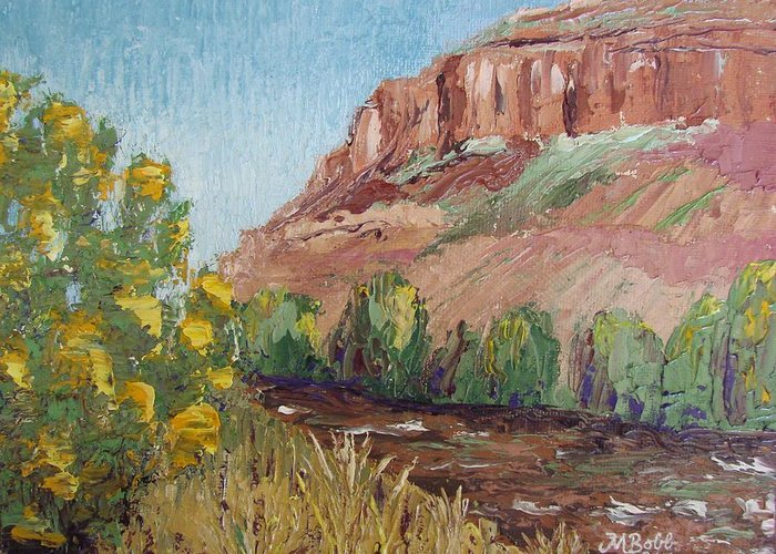 Landscape Greeting Card featuring the painting Hogback In Early Fall At Watson Lake by Margaret Bobb