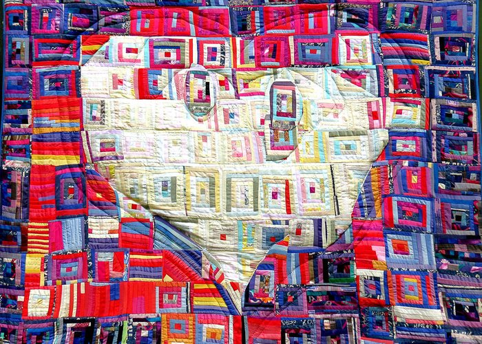Holy Spirit Dove Greeting Card featuring the tapestry - textile Holy Spirit Dove In Silk by Sarah Hornsby