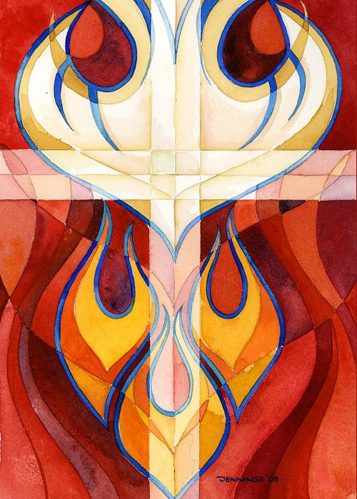 Flames Greeting Card featuring the painting Holy Spirit by Mark Jennings