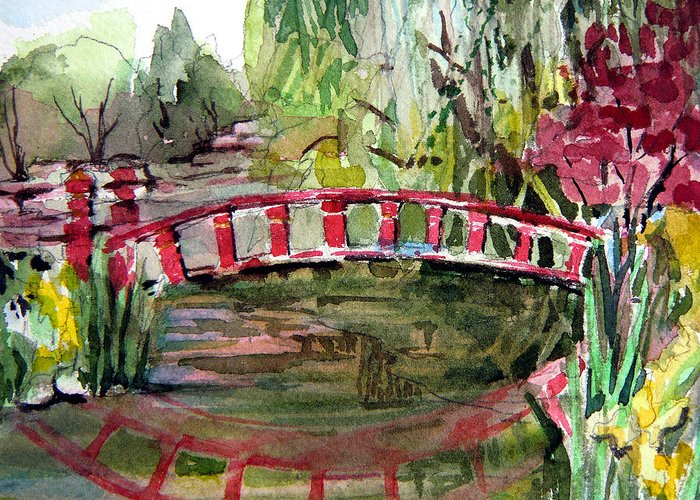 Bridge Greeting Card featuring the painting Homage To Monet by Mindy Newman