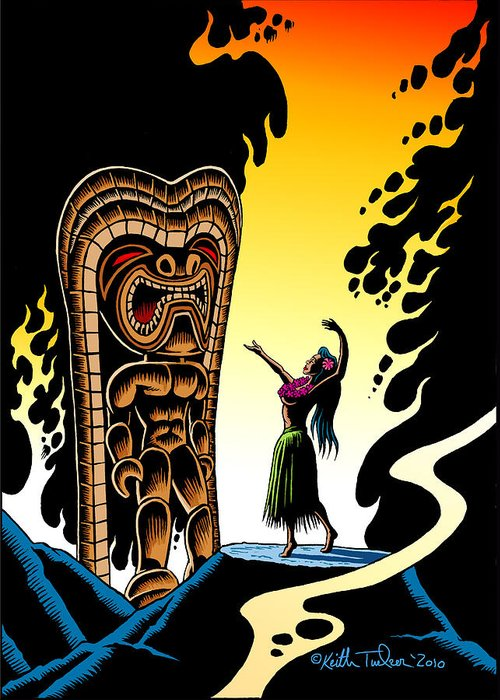 Tiki Greeting Card featuring the drawing Homage To Tiki by Keith Tucker