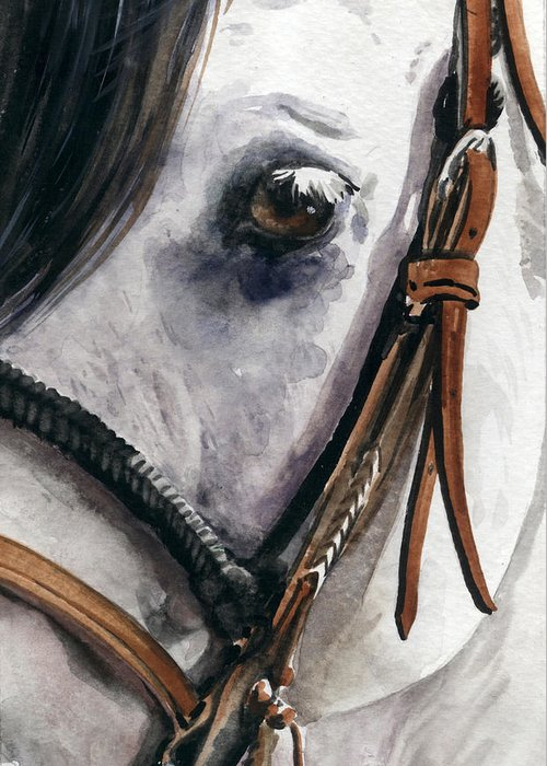Cowboy Greeting Card featuring the painting Horse Head by Nadi Spencer