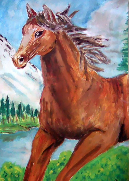 Horse Painting Greeting Card featuring the painting Horse Painting by Bekim Axhami