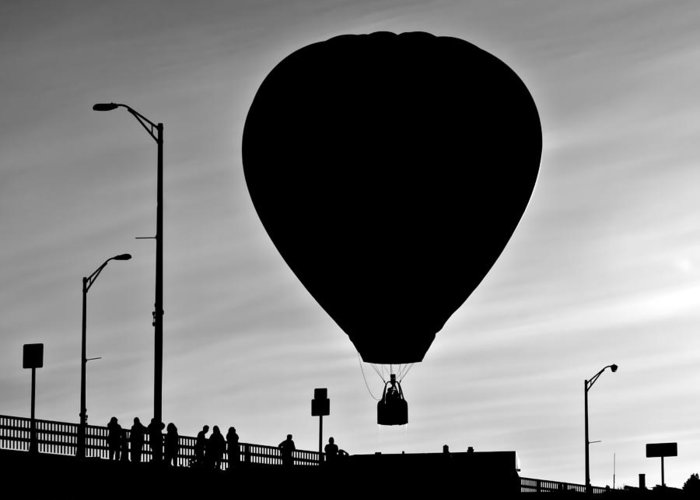 Silhouette Greeting Card featuring the photograph Hot Air Balloon Bridge Crossing by Bob Orsillo