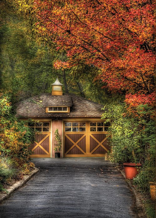 Savad Greeting Card featuring the photograph House - Classy Garage by Mike Savad