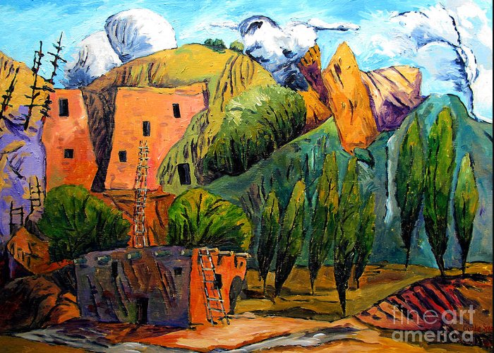 Hovenweep National Monument Greeting Card featuring the painting Hovenweep The Penthouse by Charlie Spear