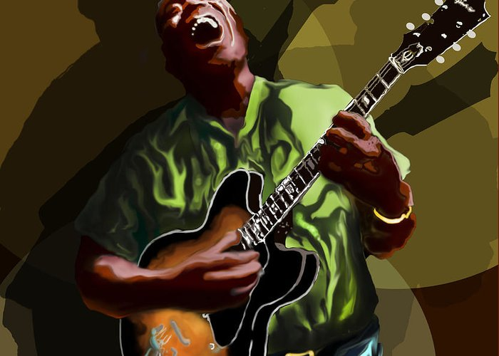 Howlin' Wolf Greeting Card featuring the digital art Howlin Wolf by David Fossaceca