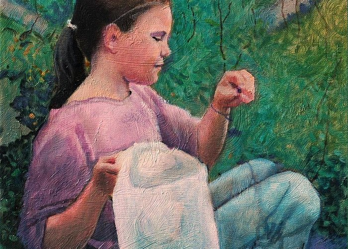 Girl Greeting Card featuring the painting Huckleberry Picker by Robert Bissett