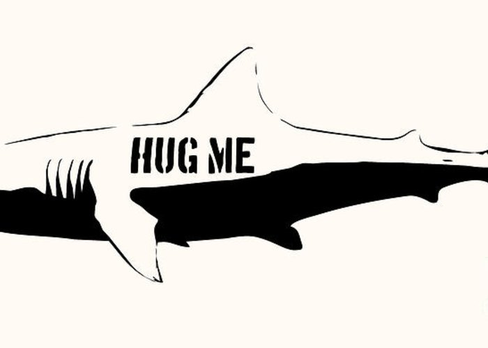 Shark Greeting Card featuring the digital art Hug Me Shark - Black by Pixel Chimp