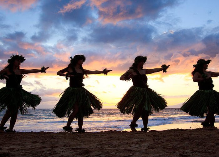 Hawaii Greeting Card featuring the photograph Hula At Sunset by David Olsen