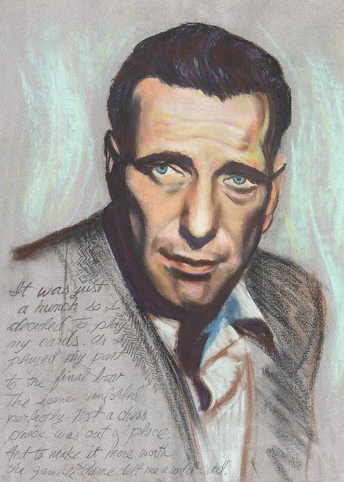 Movie Star Greeting Card featuring the painting Humphrey Bogart Not A Chess Piece Was Out Of Place by Kean Butterfield