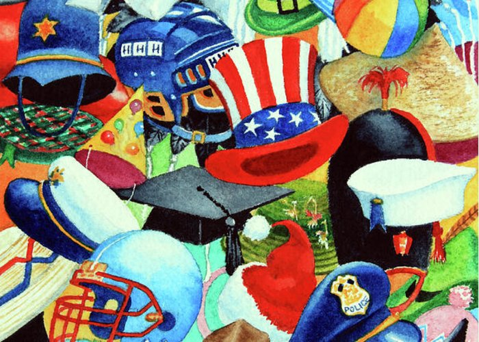 Hundreds Of Hats Art Print Greeting Card featuring the painting Hundreds Of Hats by Hanne Lore Koehler