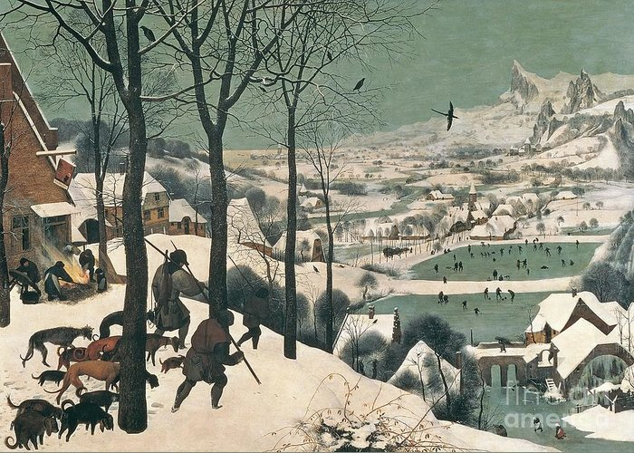 Hunters Greeting Card featuring the painting Hunters In The Snow by Pieter the Elder Bruegel