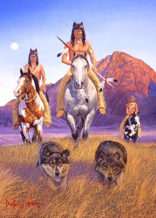 Indian Art Greeting Card featuring the painting Hunters Of The Full Moon by Howard Dubois
