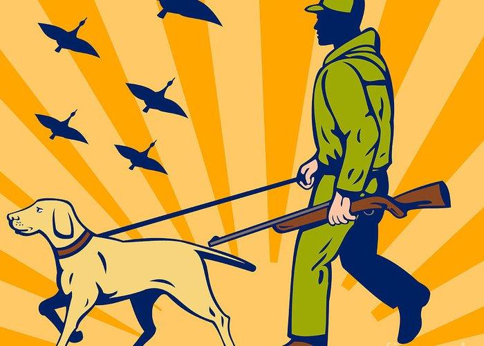 Dog Greeting Card featuring the digital art Hunting Gun Dog by Aloysius Patrimonio