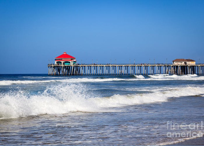 America Greeting Card featuring the photograph Huntington Beach Pier Photo by Paul Velgos