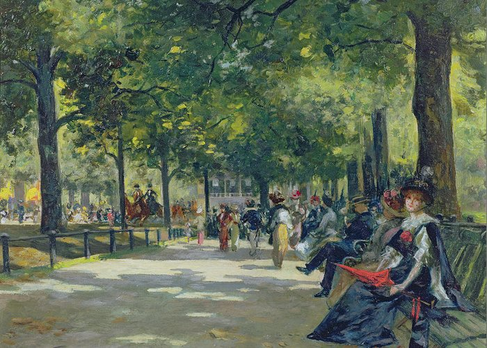 Hyde Greeting Card featuring the painting Hyde Park - London by Count Girolamo Pieri Nerli