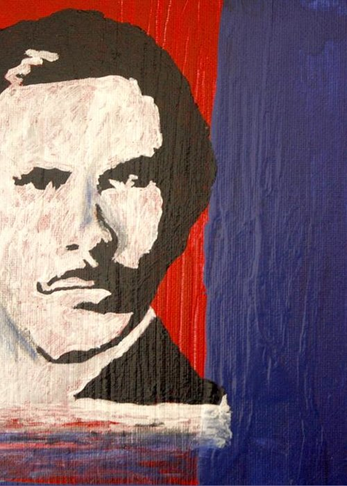 Abstract Greeting Card featuring the painting I Am Ron Burgundy by April Harker