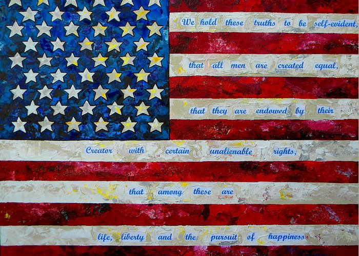American Flag Greeting Card featuring the painting I Believe by Patti Schermerhorn
