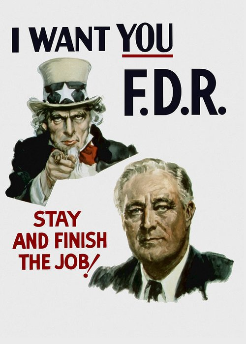 Fdr Greeting Card featuring the painting I Want You Fdr by War Is Hell Store