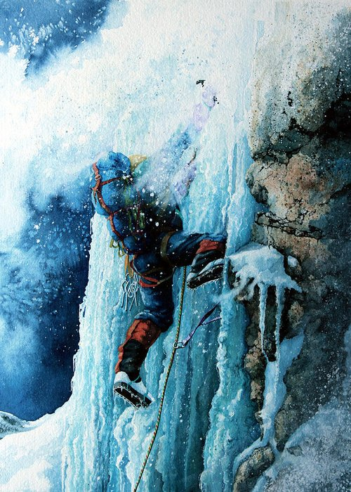 Sports Art Greeting Card featuring the painting Ice Climb by Hanne Lore Koehler