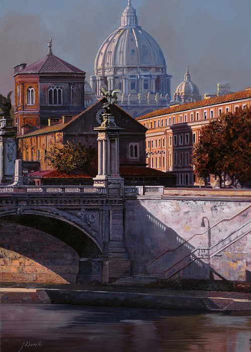 Rome Greeting Card featuring the painting Il Cupolone by Guido Borelli