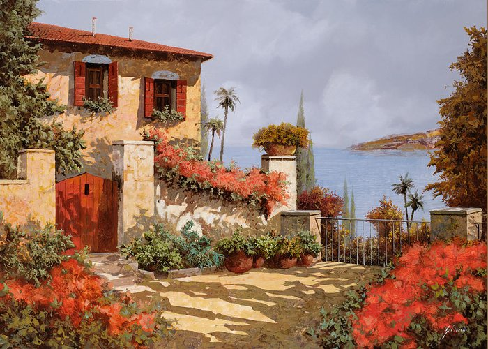 Red House Greeting Card featuring the painting Il Giardino Rosso by Guido Borelli