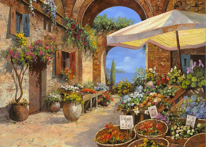 Landscape Greeting Card featuring the painting Il Mercato Del Lago by Guido Borelli
