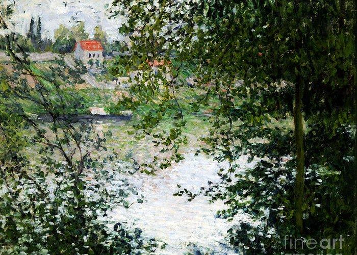 Claude Monet Greeting Card featuring the painting Ile De La Grande Jatte Through The Trees by Claude Monet