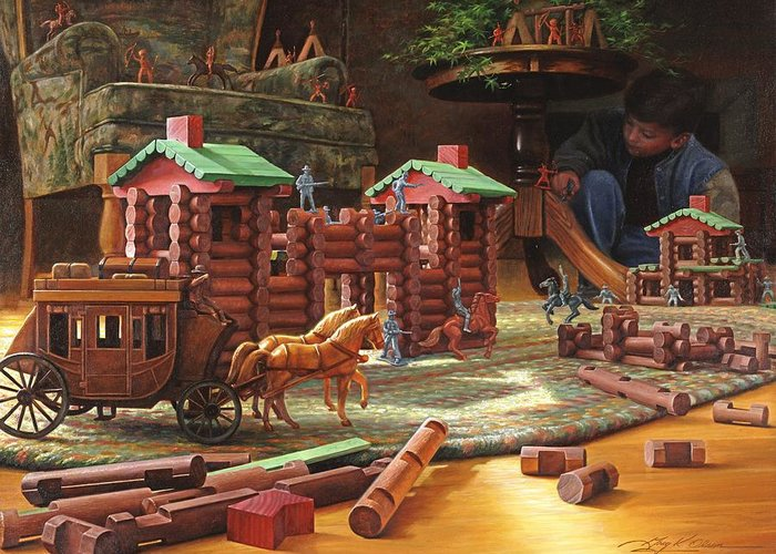 Lincoln Logs Greeting Card featuring the painting Imagination Final Frontier by Greg Olsen