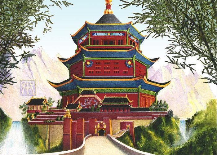 Oriental Greeting Card featuring the mixed media Imperial Palace by Melissa A Benson
