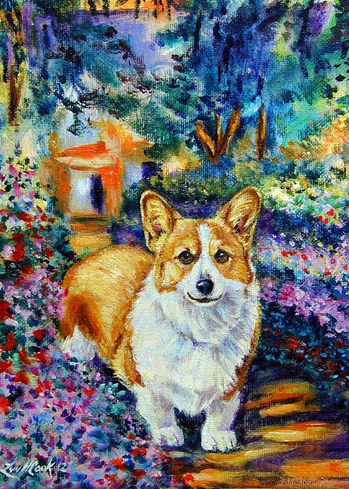 Pembroke Welsh Corgi Greeting Card featuring the painting In Monet's Garden - Pembroke Welsh Corgi by Lyn Cook